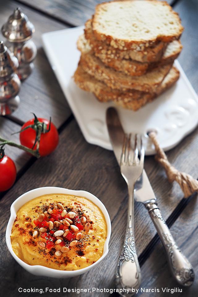 Hummus cu tahini si dovleac placintar